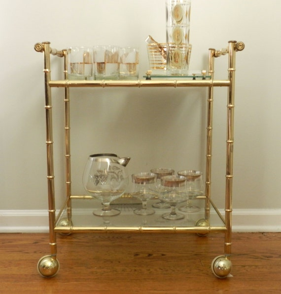 Vintage Bar Cart Gold Metal Faux Bamboo Glass Tiers Rolling