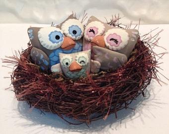 Owl Family in Nest Baby Shower Cake Topper - Custom Cake Topper