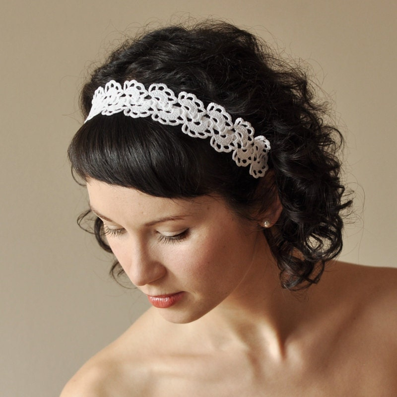 BRIDAL HAIR BAND wedding hair accessory crochet by WhiteFashion
