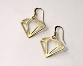 geometric brass diamond earrings-  the no. 036- SALE!