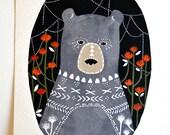 Bear Illustration Painting - Animal Watercolor Art - Keiko Bear by Marisa Redondo