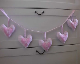 Pink Gingham Fabric Heart Garland Baby Girl