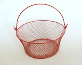 Red Wire Basket with Handle, Storage Wire Basket, Home Office Decor, Houseware