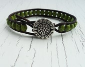 Green Leather Wrap Bracelet, Sunflower Bracelet, Olive Green, Boho Bohemian Chic, Earth Tones, Earthy Bracelet