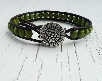 Green Leather Wrap Bracelet, Sunflower Bracelet, Olive Green Beaded Bracelet, Boho Bracelet, Bohemian Jewelry, Earthy Sunflower Bracelet