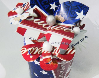 Perfection for Independence Day Decor,  Budweiser Patriotic Beer Can Bouquet