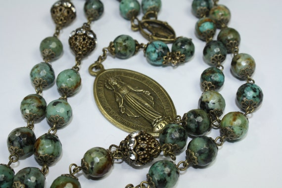 Miraculous Seven Sorrows Rosary 7 decades of 7 beads African Turquoise bronze handmade in Oklahoma