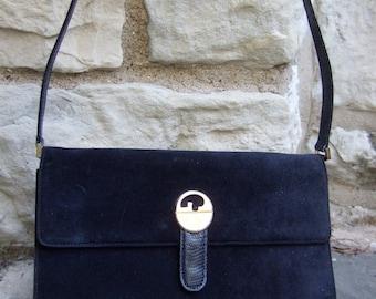 GUCCI Sleek Dark Blue Suede Shoulder Bag c 1970 (Genuine)