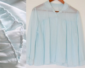 Vintage 1950s Cover Up. Seafoam Chiffon Night Gown,Baby Blue Bed Jacket,Sheer Lingerie, Pastel Light Top with Buttons. Wedding,Maternity or?