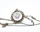 BUTTERFLY - antique bronze necklace. glass cabochon