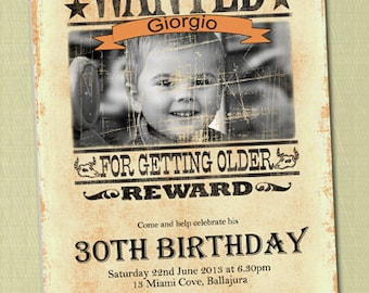 Photo Personalised Wanted Poster Style Birthday Invitations - You Print