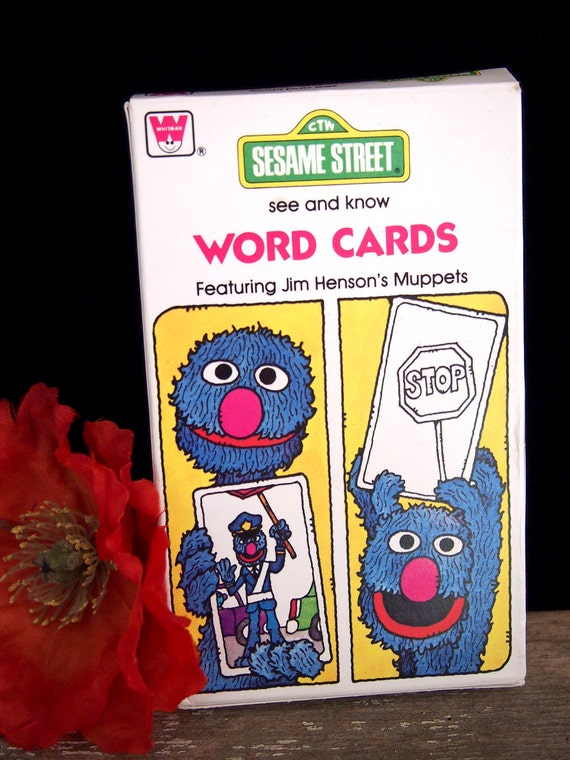 1978 Sesame Street Word Flash Cards In Box English Spanish