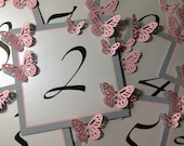 Table Numbers Card Table Tag with Butterflies and Crystals