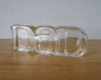 Thick Glass Vintage Paper Weight for Dad by Avon / 80s Modern