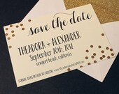 20 CUSTOM Gold Confetti A7 INVITES with envelopes great for Save the Date, Bridal Shower, Engagement Party, Wedding Suite
