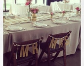 "Gold Glitter ""Mr"" & ""Mrs"" Banner Garland perfect for weddings, engagements or bride/groom's chairs"