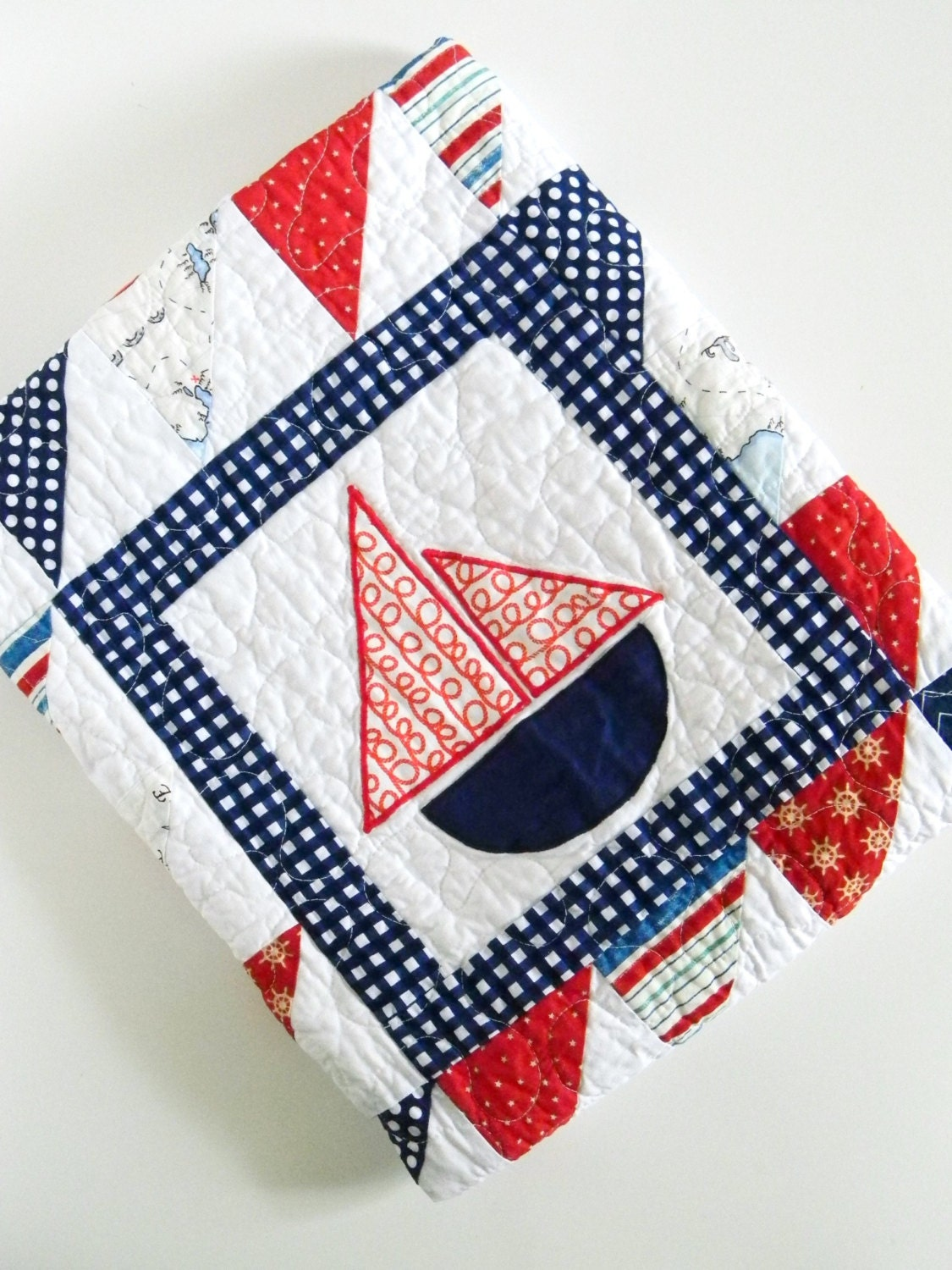 Nautical Sailboat Baby Boy Quilt