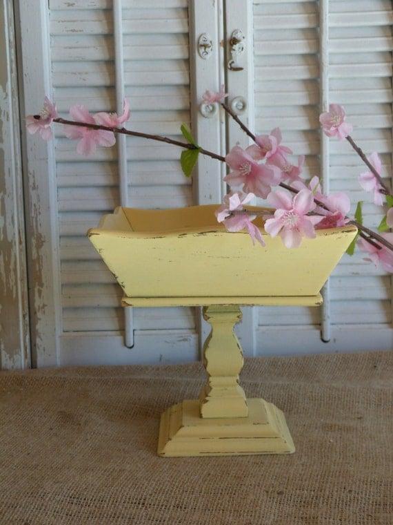 Yellow Wooden Pedestal Bowl, Fruit Bowl, Cottage Chic, Party Decor, Table Decor, Square Bowl