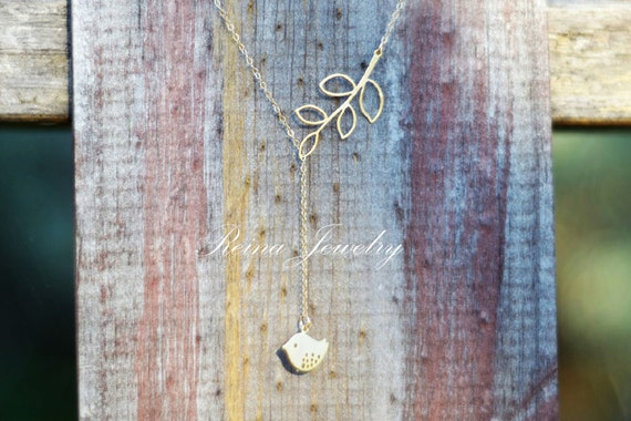 Detailed Bird Branch Lariat - Gold Lariat Necklace - Love Bird Necklace