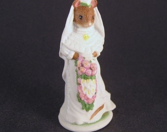 Vintage Bride Woodmouse Family CELESTINE Franklin Mint Mouse Figurine Vintage 1985, Cake Topper, Mouse Collecible