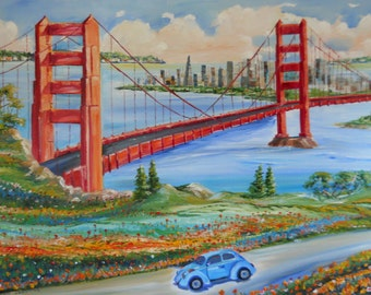 San Francisco Painting, Golden Gate Bridge Oil, VW Painting, Dan Leasure Original Oil, California Blue VW Marin County, San Francisco Bay