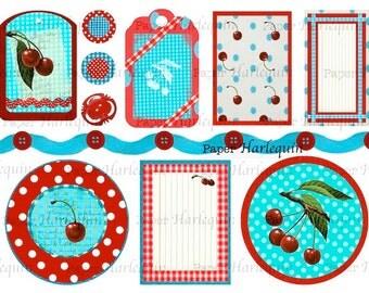RETRO Turquoise and CHERRY Printable Scrapbook TAG Embellishment Journal Cookbook Kit