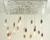 Urban Chandy with reclaimed wood/molding & varying vintage-look bulbs