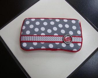 Boutique Diaper Wipes Travel Case Ohio State Inspired Red  Scarlet  Gray Grey Polka Dot Chevron