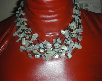 Vintage Sterling Silver 14 Strands Mother Of Pearl Necklace