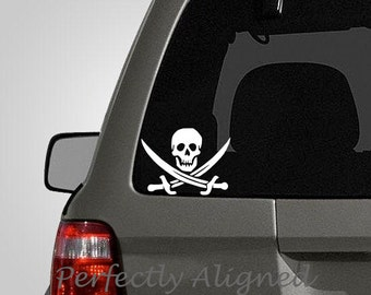 Jolly Roger Pirate Vinyl Decal - Car Decal - Macbook Decal etc...