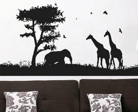 African Safari 4 Wall Decal Vinyl Decor Art Modern Removable
