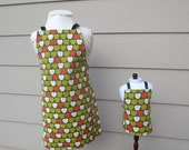 Matching Apron Set - Doll  & Daughter Aprons in Retro Apple Print