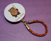 """Eyeglass/Sunglass holder, magnetic """"brooch"""" style, Fun Star Wars Ewok design """"badge"""" with Brown Woven Leather Loop"""