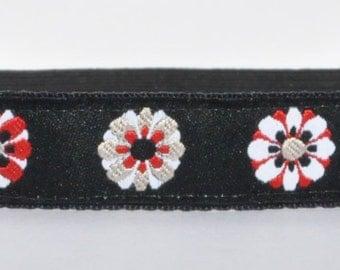 Non Slip Headband - Black Red Flowers - Yoga Headband - Running Headband - Fitness Headband - Thin Headband - Floral Headband