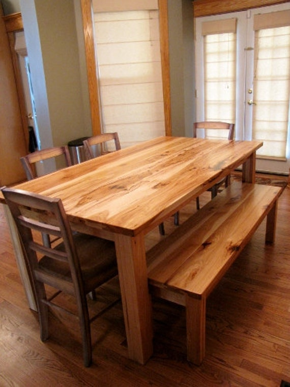 Items Similar To Rustic Solid Hickory Farmhouse Table On Etsy