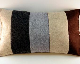 Neutral Striped Pillow, Felt Pillow, Bold Stripes, Modern Striped Pillow, Long Pillow
