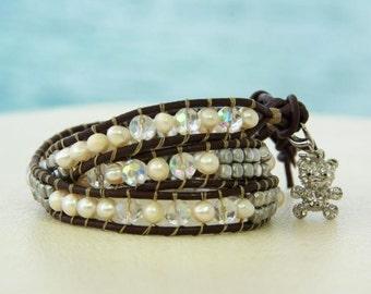 Be My TEDDY BEAR ... Leather wrap bracelet... Beaded Tripple Wrap Bracelet. Original OceanBead style.