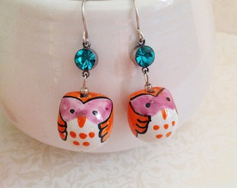 Owl Dangle Earrings. Hand Painted Ceramic. Rhinestone. Orange. Pink. White. Whimsical. Cute. Owl Jewelry. Silver. Fun. Handmade.