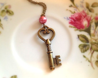 Romantic Heart Key Necklace. Vintage Style. Brass. Pink Pearl. Romantic. Love. 10 Dollars. Gifts for Her. Antique Gold Tone.