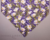 Daisy Table Runner, White Daisies on Purple Large Table Runner, Modern Home Decor, Spring Table Accents