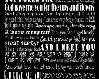 God Gave Me You Blake Shelton Typography Song Lyric Art Print 11 by 14