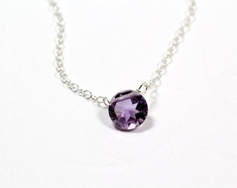 Gemstone Choker Necklace, Pink Amethyst Round Cut Briolette, Sterling Silver Chain, Sterling Silver Wire. February Birthstone. Gift. N156.