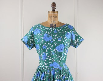 1950s Cotton Day Dress - vintage Emerald Green and Ethereal Blue Floral Print - NOS, new old stock with original hang tags, DEADSTOCK