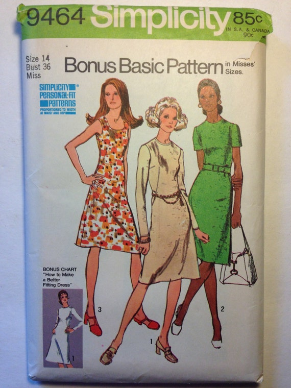 Simplicity 70s Sewing Pattern 9464 Misses Bonus Basic Dress With Two Necklines Size 14 Sale
