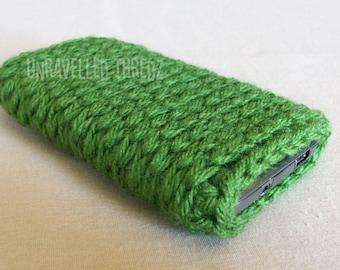 Green Phone Sock Pouch Cozy- Iphone, HTC, Samsung Crochet Phone Case