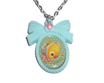 Baby Animal Necklace, Cute Duckling, Kawaii Retro Vintage Style Baby Duck