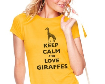 Keep Calm and Love Giraffes T-Shirt - Soft Cotton T Shirts for Women, Men/Unisex, Kids