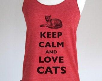 Keep Calm and Love Cats Soft Tri-Blend Racerback Tank