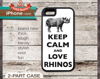 Keep Calm And Love Rhinos - iPhone 6, 6+, 5 5S, 5C, 4 4S, Samsung Galaxy S3, S4