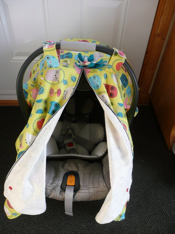 baby car seat canopy with owl fabric. Black Bedroom Furniture Sets. Home Design Ideas